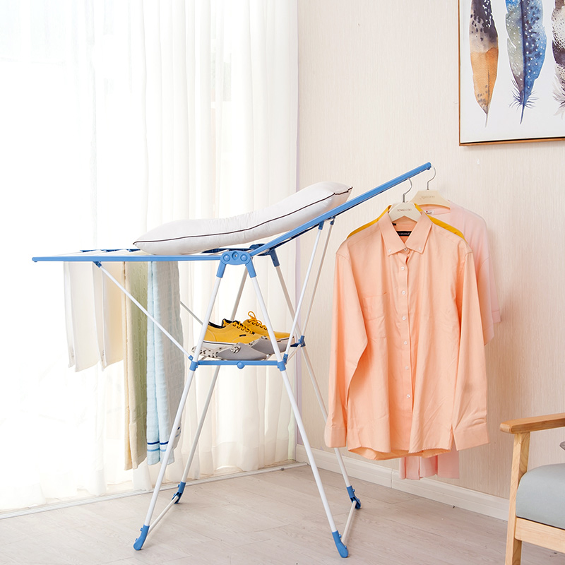 Wing Shape Foldable Laundry Clothes Storage Drying Rack Airer Portable Dryer Hanger Organizer Pole Indoor outdoor Balcony DQ0820 - 2