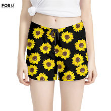 FORUDESIGNS Floral Style Women Shorts Summer 3D Fashion Sunflower Printing Ladies Loose Board Shorts Plus Size Girls Home Shorts(China)