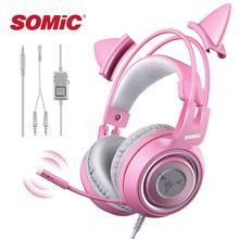 Игровая Гарнитура SOMiC G951S, геймерские розовые наушники с кошачьими ушками для PS4, Xbox, телефона, ПК с микрофоном, игровые Накладные наушники 3,5 мм