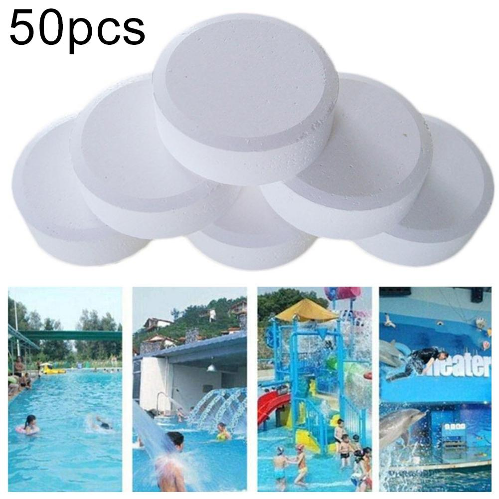 50Pcs Chlorine Tablet Multifunction Instant Disinfection Tablets Pill Swimming Pool Disinfectant Fast Dissolving Chlorine Tablet