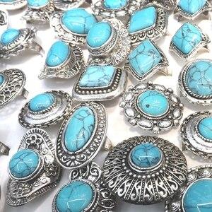 Image 2 - Retro Turquoises Rings Adjustable Bohemian Rings 50pcs/Lot Wholesale