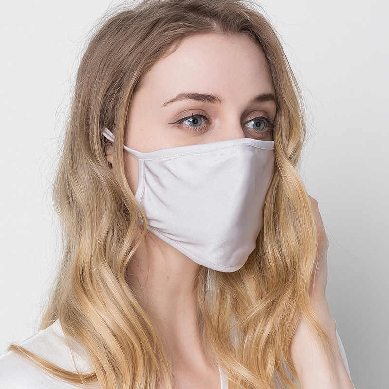 Men/Woman Mouth Mask 3 Pieces 100% Silk Anti Dust Nose Breathable Sun Protection Face Mouth Mask Double Thick Reusable Masks