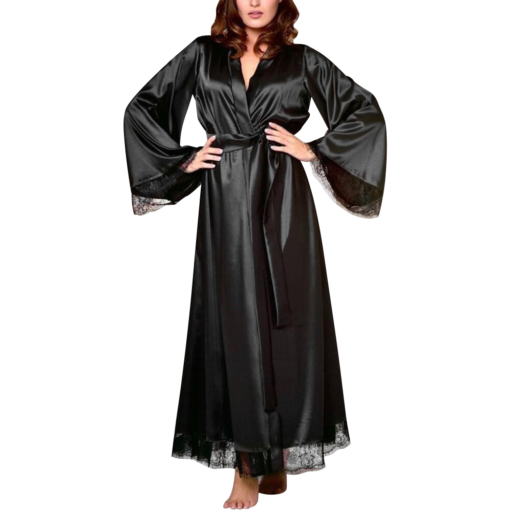 Sexy Nightgown Satin Silk Robes For Woman Lace Bridesmaid Robes Bathrobe Feminino Bath Robe Plus Size Long Peignoir Femme D30