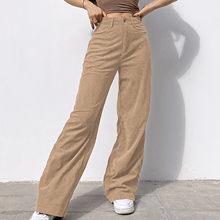 Las mujeres pantalones de pana de botón de cintura pierna ancha pantalones holgado Casual pantalones de pantalones Streetwear