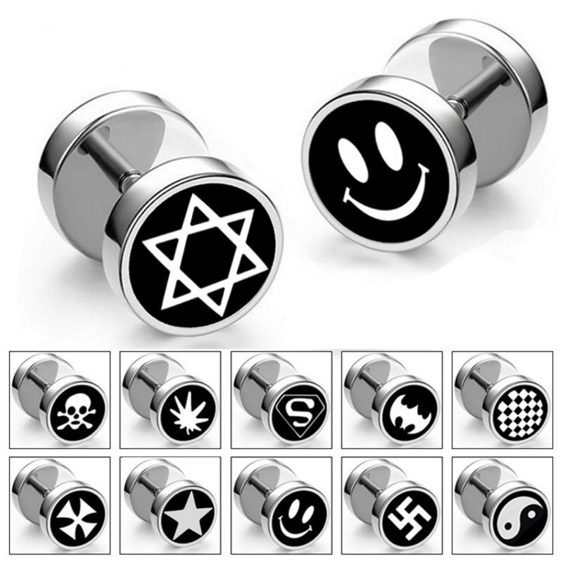 Punk stainless steel barbell men earrings cross six-pointed star rock earrings hypoallergenic titanium steel dumbbell earrings