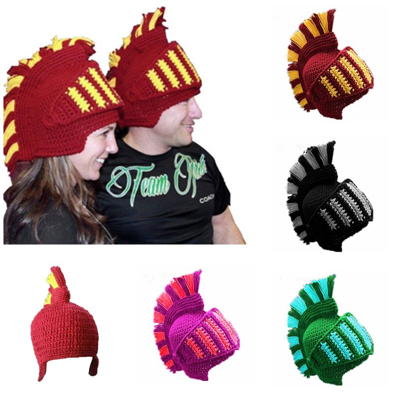 Unisex Funny Roman Knight Helmet Knitted Hat Contrast Color Crochet Beanie Earflap Cap With Face Mask Cosplay Costume