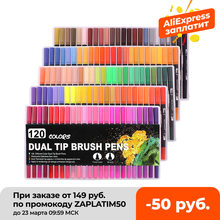 Fineliner Watercolor Brush Markers Dual Tip Drawing for Manga 12 24 36 48 60 72 100 120 Colors Watercolor Brush