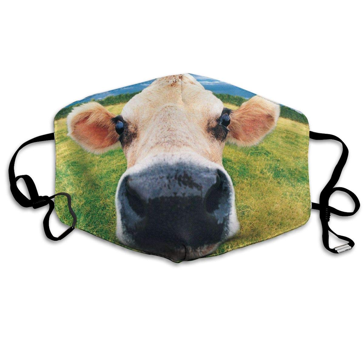 Muindancer Dust Mask, Cow Paint Face Mask With Adjustable Earloops Breathable Reusable Outdoor Mouth Cover For Adults Kids