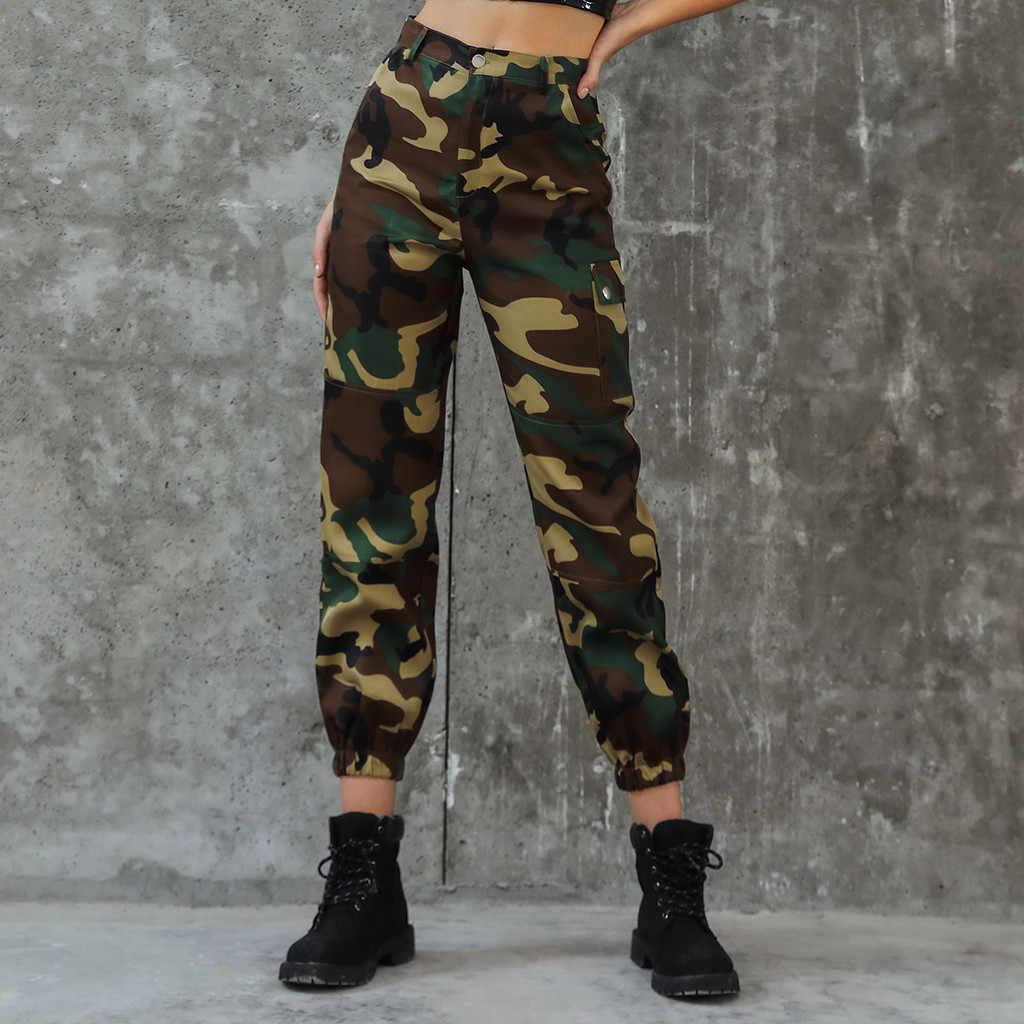 Sport Broek Vrouwen Lange Camouflage Hoge Taille Button Fly Pocket Casual Canvas Broek Knappe Pantalones Mujer Hip Hop OY41 *