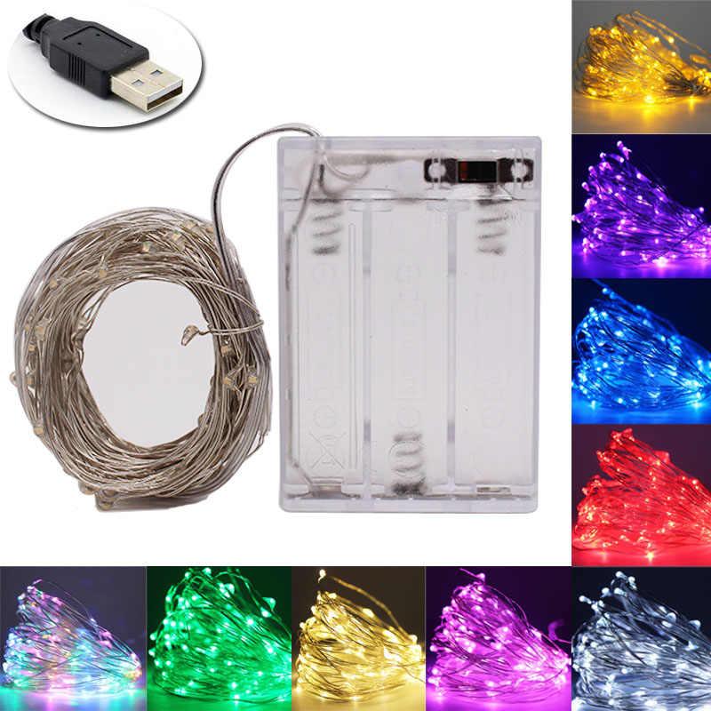 2M 5M 10M zasilanie USB/CR2025 zasilany z baterii srebrny girlanda żarówkowa led lampki boże narodzenie wieniec dekoracja na przyjęcie ślubne światła