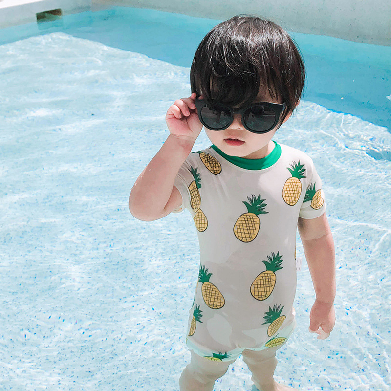 South Korea INS KID'S Swimwear BOY'S Baby Infant Cute Pineapple Small CHILDREN'S Sun-resistant Short Sleeve Wetsuit Set Fashion