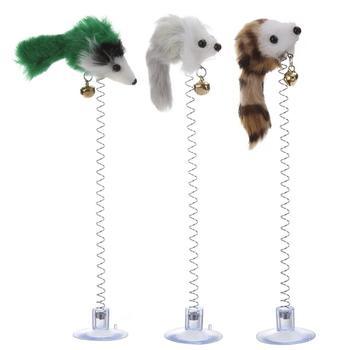 1/3 Uds gatos de juguete graciosos pluma elástica ratón falso ventosa inferior juguetes para gato gatito jugando asiento de mascota juguete para rascar producto de gato