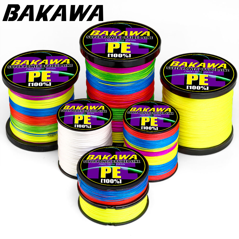 BAKAWA PESCA colored strands fly cord braided accessories everything for fishing PECHE pe 150M 300M 4 Strand 8 Strand 120LB 18LB