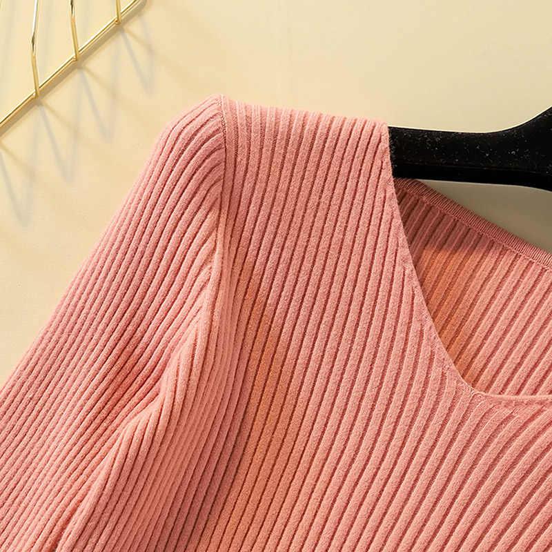 캐주얼 여성 풀오버 겨울 점퍼 니트웨어 섹시한 v 넥 긴 소매 스웨터 여성 blusas mujer de moda 2019