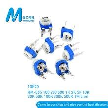 10 unids/lote RM065 RM-065 100, 200, 500, 1K 2K 5K 10K 20K 50K 100K 200K 500K 1M ohm Trimpot Trimmer potenciómetro de resistencia variable