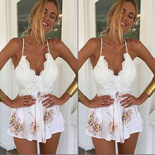 Hot Fashion Lace Chic Stylish Women's Clubwear V Neck Playsuit Bodycon Party Jumpsuit Skinny Romper Trousers stylish cami lace women s bodycon dress