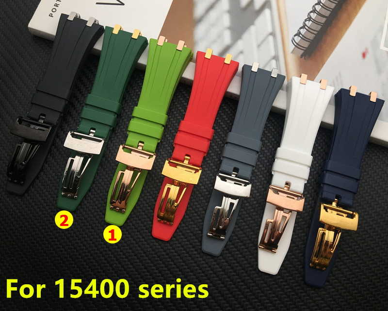 Silicone rubber watchband for AP Strap Folding Buckle 26mm 27mm for Audemars And Piguet watch band 15400/26470/15703 with hooks
