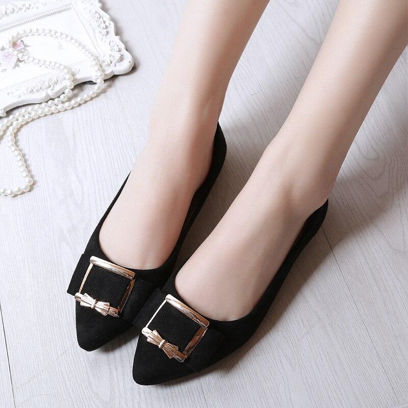 Ev ve Bahçe'ten Ayakkabı Rafları ve Organizatörleri'de 2019 yeni stil sonbahar küçük 33 34 kadın ayakkabı sivri sığ ağız düz topuk düz yay iş ayakkabısı kore stil title=