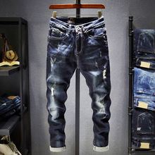 Men's Elastic Hollow Jeans Patches Jeans Slimming Casual Jeans Moto Jeans Slim Fit Straight Denim Pants Distressed Trousers extreme distressed knees jeans