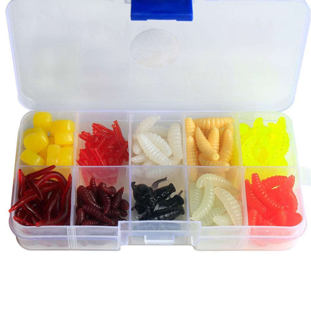 175pcs Multi Carp Fishing Lure Set Soft Bait Sea Red Worm Bread Bug Corn Artificial Fishing Tackle Box Hot Selling
