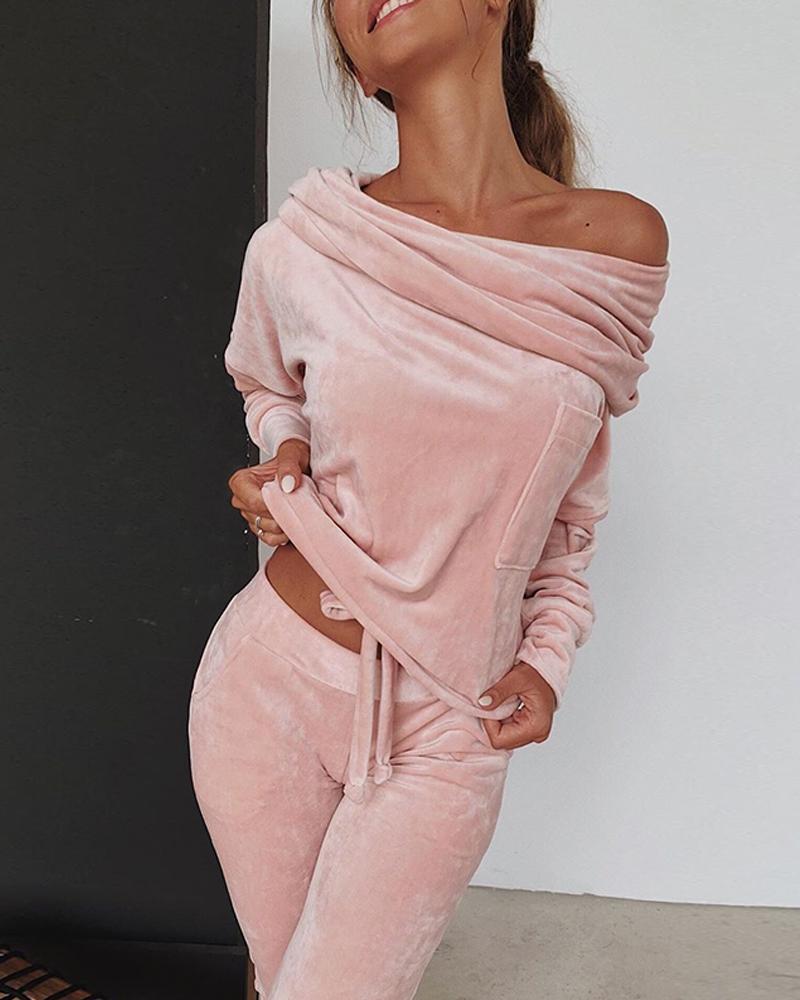 Sweatshirt Women 2 pieces Set Tracksuit Autumn One shoulder Sweatshirt Pants Sets Sport Wear Tracksuit Velvet Lounge Suit 1