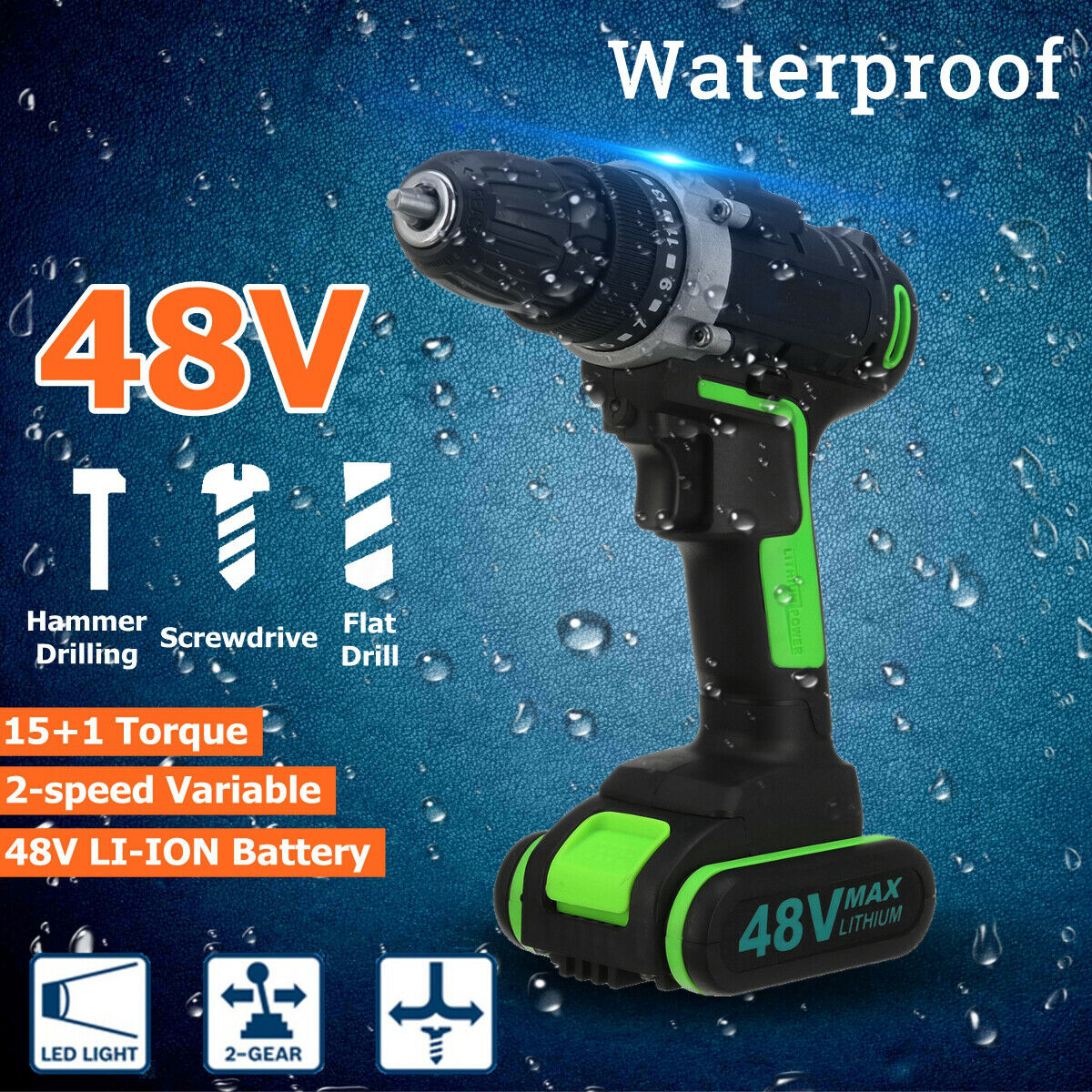 Battery Cordless Drill Electric Brushless Hammer Impact Driver 2-Speed