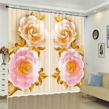 3D Blackout diamond pink blossom flowers wedding Decor Curtains For Bedroom Living Room Drapes Fabric Polyester Set with Hooks