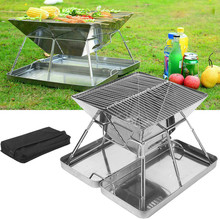 Folding Stainless Steel BBQ Grill Portable Camping Outdoor Charcoal Rack Barbecue Kitchen Accessories Tools