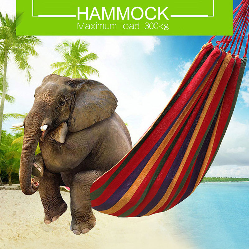Travel Camping Hammock Color Strip Canvas Single Double Hamaca  Rede De Dormir Hamac Swing Chair Bed Hamak Outdoor Furniture