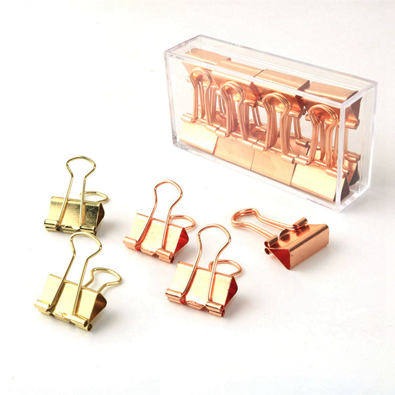 12 Pcs/Set Rose Gold Long Tail Bill Clip Swallow Tail Clip Cute Office Accessories Binder Clip Metal Clip Accessories