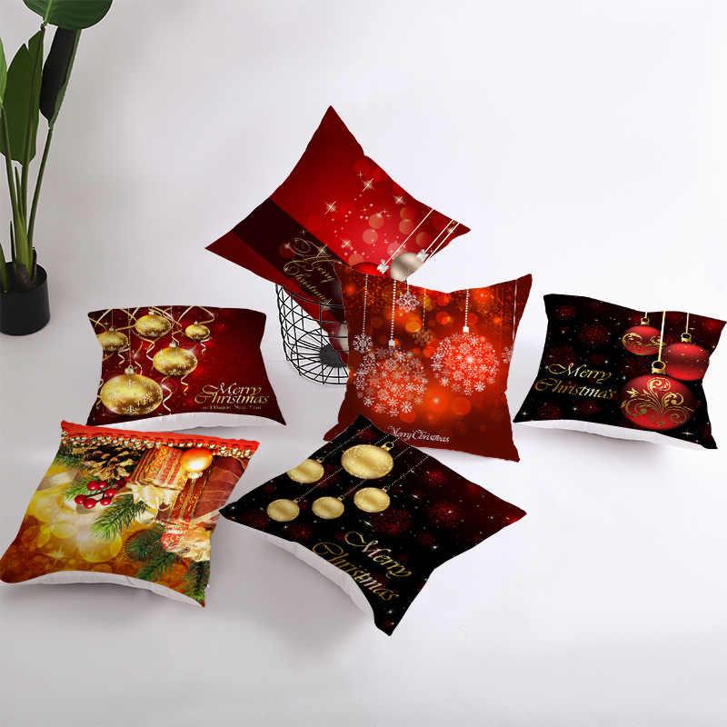 45X45 Cm Natal Sarung Bantal Merah Halloween Sarung Bantal Poliester Tahun Baru Dekoratif Bantal Sofa Bantal Cover 2020