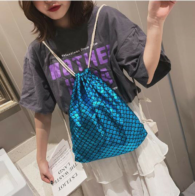Newest Fish Scale Women Drawstring Backpacks Travel Shoulder Bags Satchel Tote Clutch Lady Fashuion Laser Large Capacity Bags