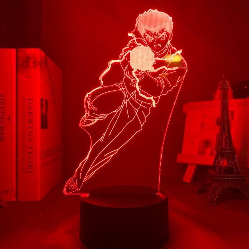 H6bd63c491aec43deb23d981a922dbbe4a Luminária Yu yu hakusho yusuke urameshi conduziu a luz da noite para o quarto decoração presente colorido nightlight anime 3d lâmpada yu yu hakusho