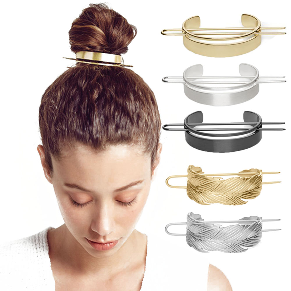 Original Alloy Round Hair Pins Bun Cuff Vintage Leaf Hair Stick Set Women Unique Wedding Hair Accessories Retro Hair Pins