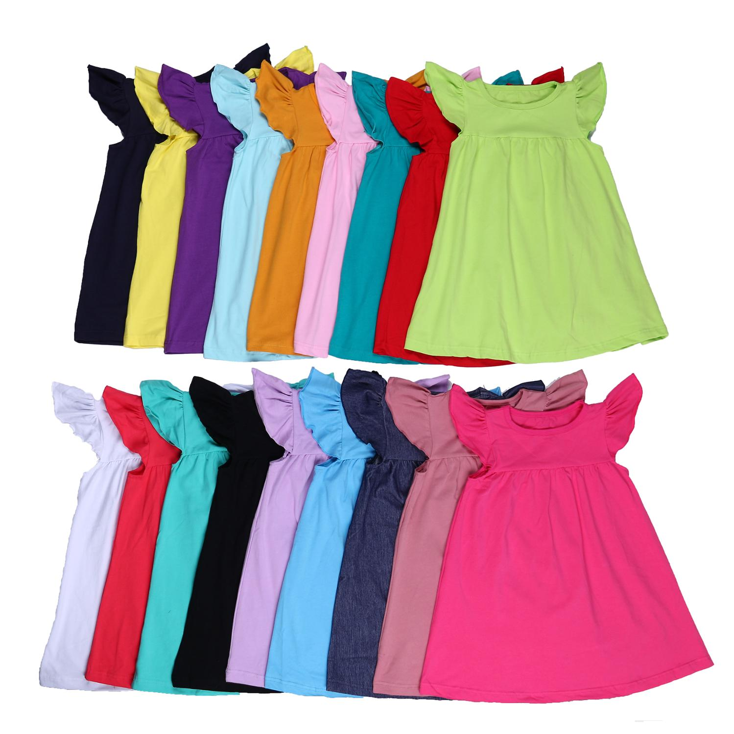 100% Cotton Summer Simple Solid Color Toddler Flutter Sleeve Little Baby Girls Pearls Dress
