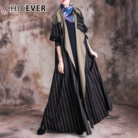 CHICEVER Casual Striped Hit Color Women's Wool Coats Lapel Collar Flare Sleeve Oversize Long Coat Female 2020 Autumn Winter New