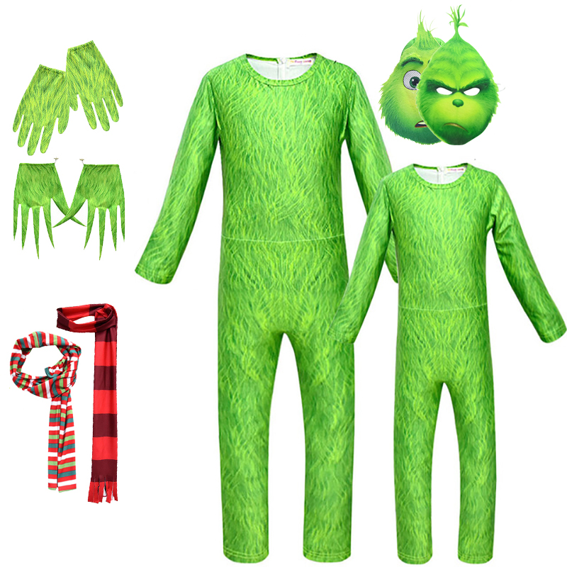 The Grinch Cosplay Costume For Kids Adult Funny Carnival Costumes Set Halloween Girls Boys Cartoon Jumpsuit Christmas Gift 5pcs