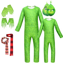 The Grinch Cosplay Costume for Kids Adult Funny Carnival costumes set Halloween Girls Boys Cartoon Jumpsuit Christmas Gift 5pcs(China)