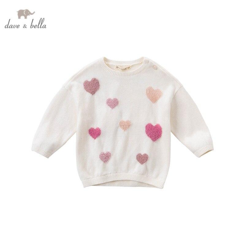 DBJ14942 dave bella осенний милый вязаный свитер для маленьких девочек, модные детские топы из бутика для малышей|Свитера| | АлиЭкспресс