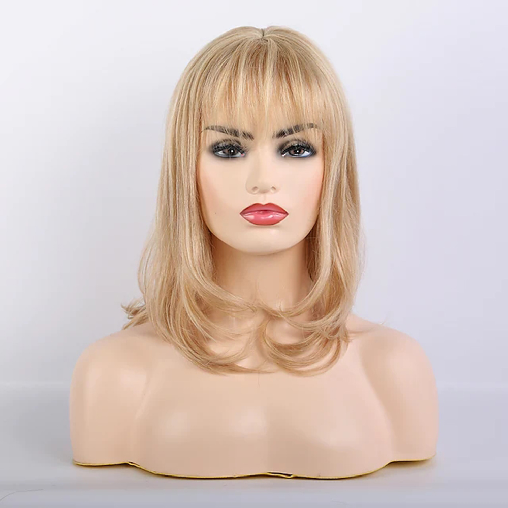 Blonde Remy Human Hair Blend Wig Long Curly Body Wave Layered Haircut Neat Bang With Bangs Blonde Women Natural costume wigs