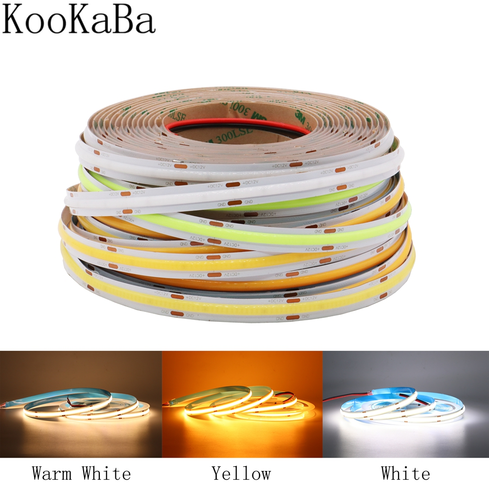 Bande Flexible de Led dépi bande molle barre de LED lumineuse superbe de FCOB pour la décoration DC12V/24V de cuisine darmoire de salon de dédroom