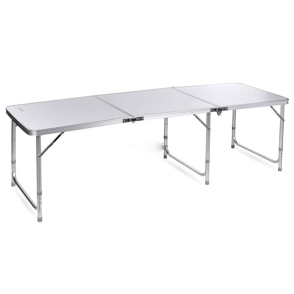 180 X 60 X 70cm / Home Use Aluminum Alloy Folding Table White For Home Kitchen Aluminium Alloy Folding Table For Outdoor Trave