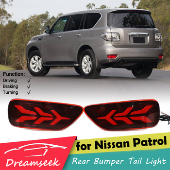 LED Reflector Rear Bumper Tail Light for Nissan Patrol Y62 2012-2019 Stop Brake Lamp with Dynamic Sequential Turn Signal