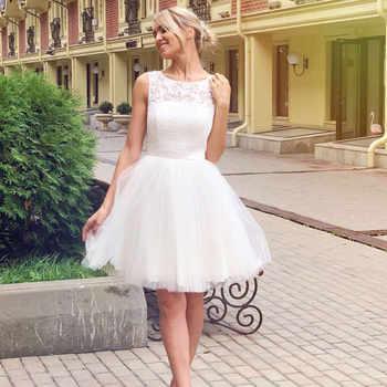 Wedding Dress 2019 Illusion Scoop Collar Sleeveless Robe De Mariage A Line Short Knee Length Lace Bridal Dress Gown