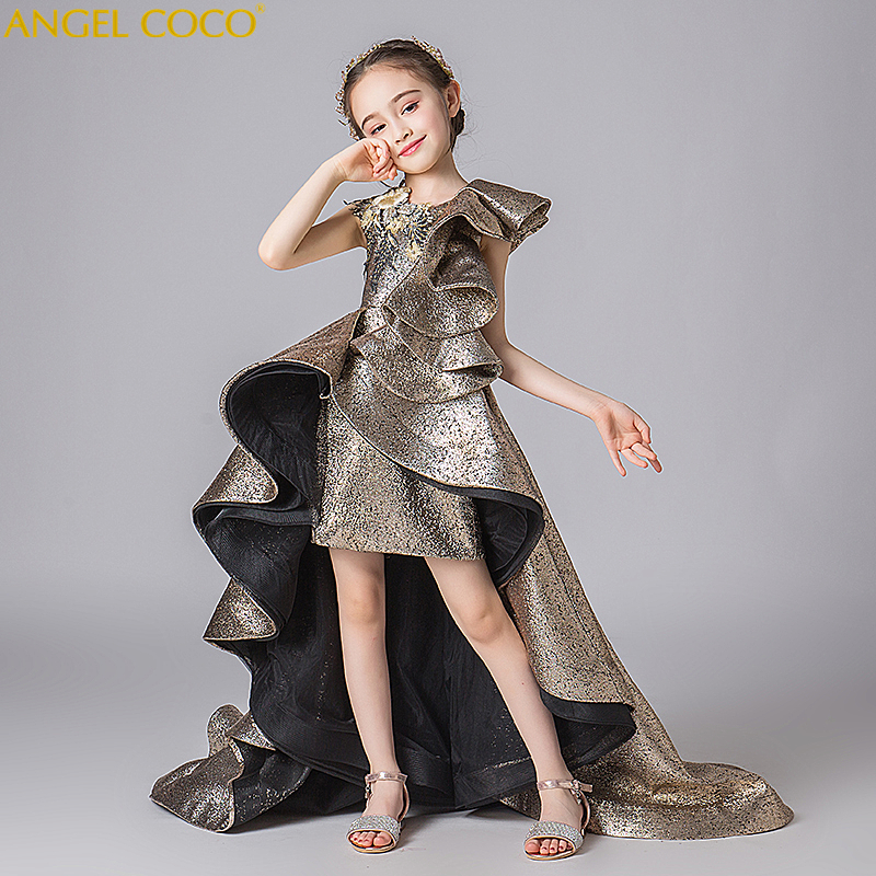 Girls Dresses Golden 3D Flowers Ball Gown Flower Girls Dresses For Wedding Pageant Party Gown Carnaval Costumes For Kids