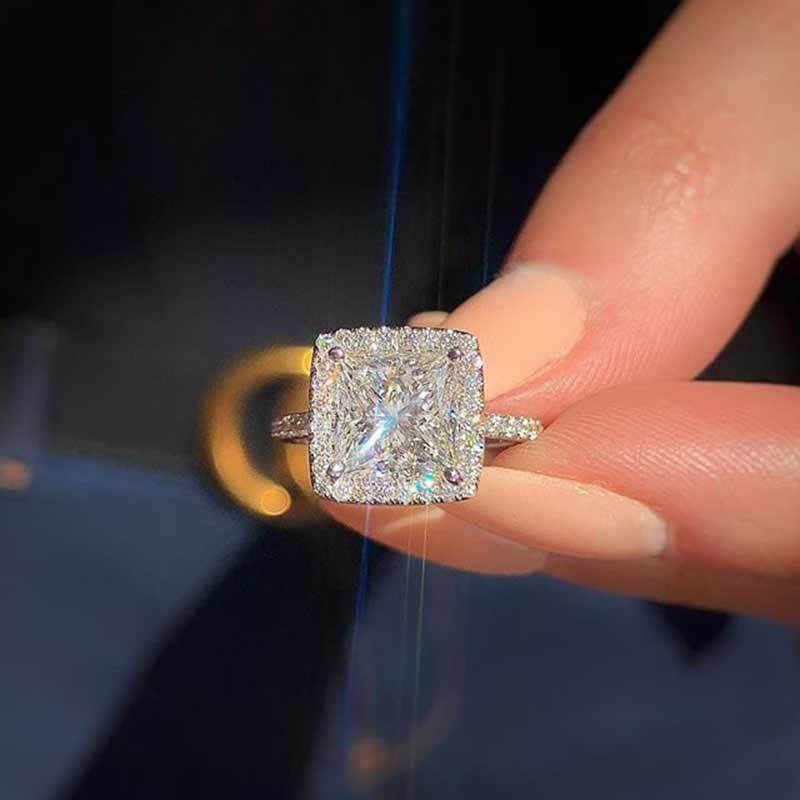 Luxe Vrouwelijke Meisje Big Crystal Cz Stenen Ring 925 Zilver Wit Blauw Paars Groen Trouwringen Promise Engagement Ring