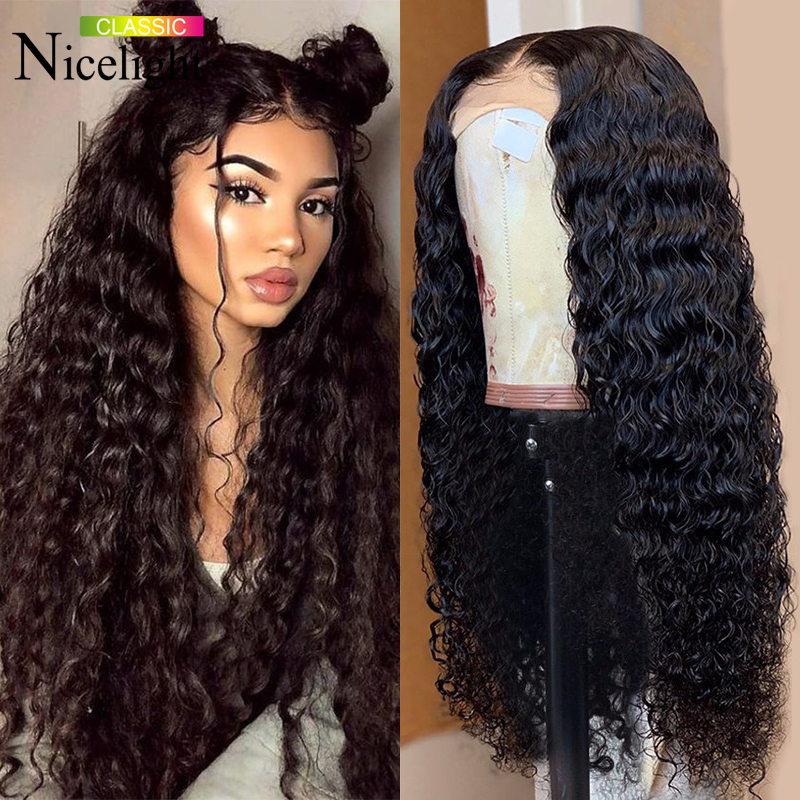 Nicelight Hair 4x4 Deep Closure Wig Malaysian Human Hair Wig 150%/180% Density Lace Wig Natural Hairline 10-26Inch Remy Hair Wig