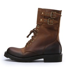 Luxury Brand Retro Genuine Cow Leather Western Boots Men High Top