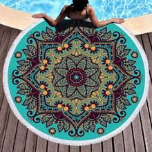 Mandala Geometric Round Beach Towel Tassels Bohemia Microfiber Bath Shower Towel For Adults Picnic Yoga Mat Blanket Cover Up