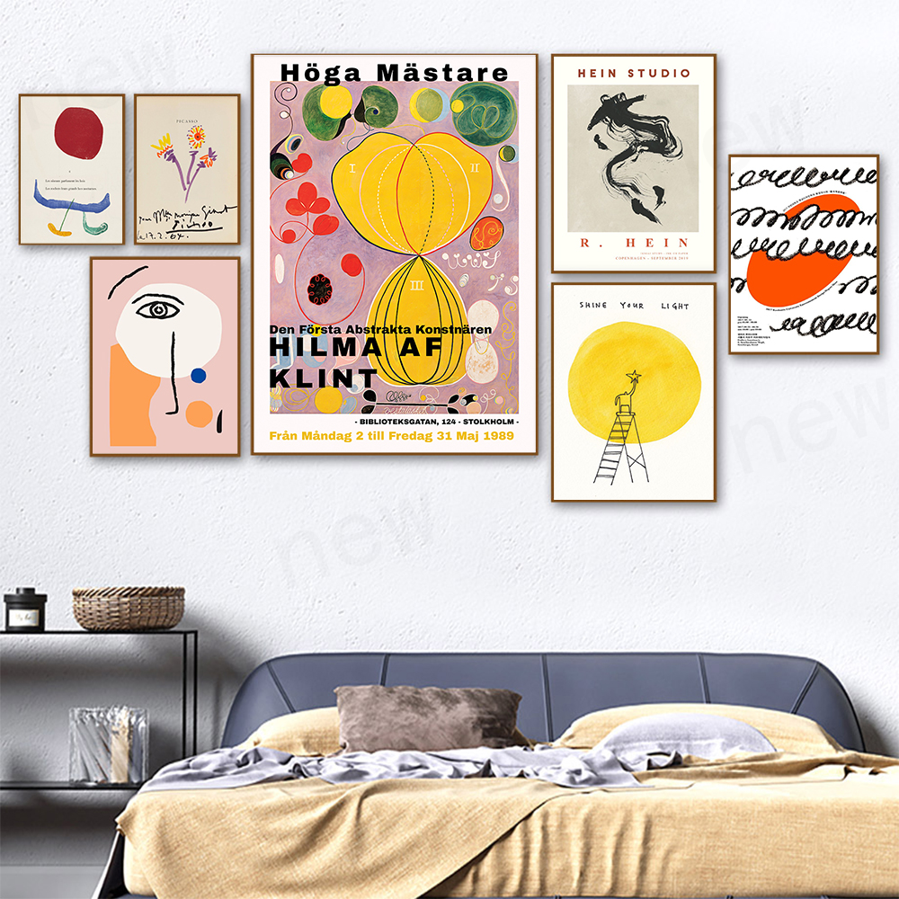 Modern Retro Hilma Mastare Exhibition Posters Prints Hein Abstract Face Wall Art Canvas Painting Bedroom Unique Decor Pictures